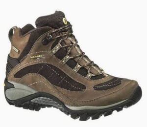 My current boots - the Merrell Siren Waterproof Mid Leather women's hiking boot.