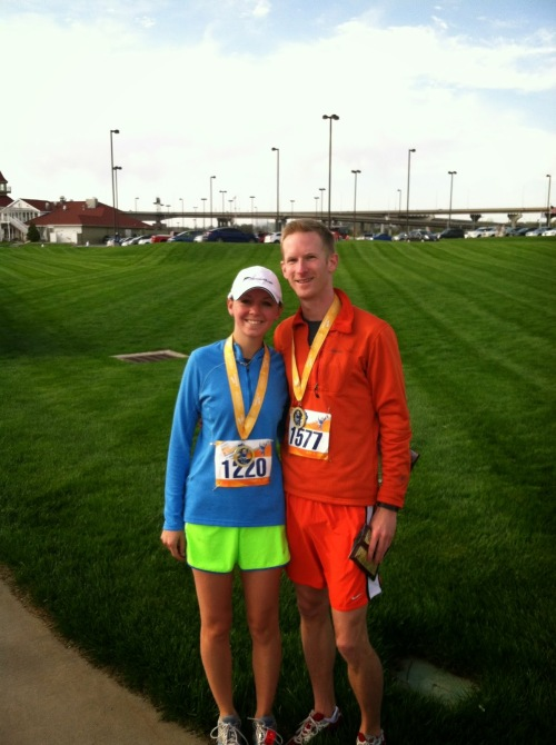 The second 5k, this past May. My beloved shoes are barely visible, but they helped me up all the unexpected hills of Omaha!