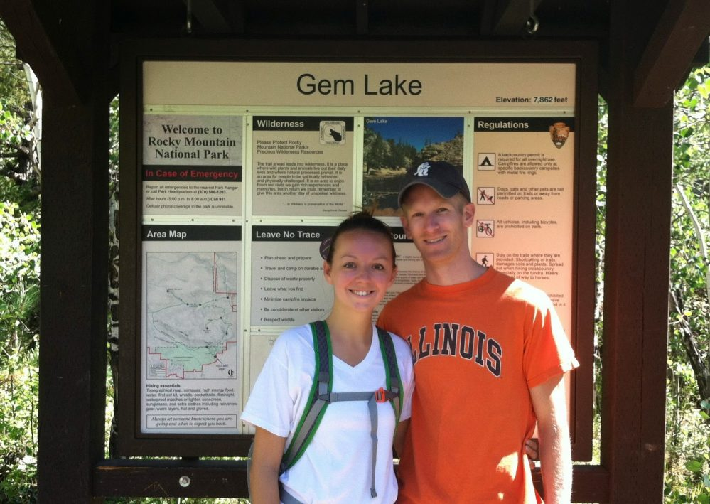 man and woman gem lake trailhead hiking