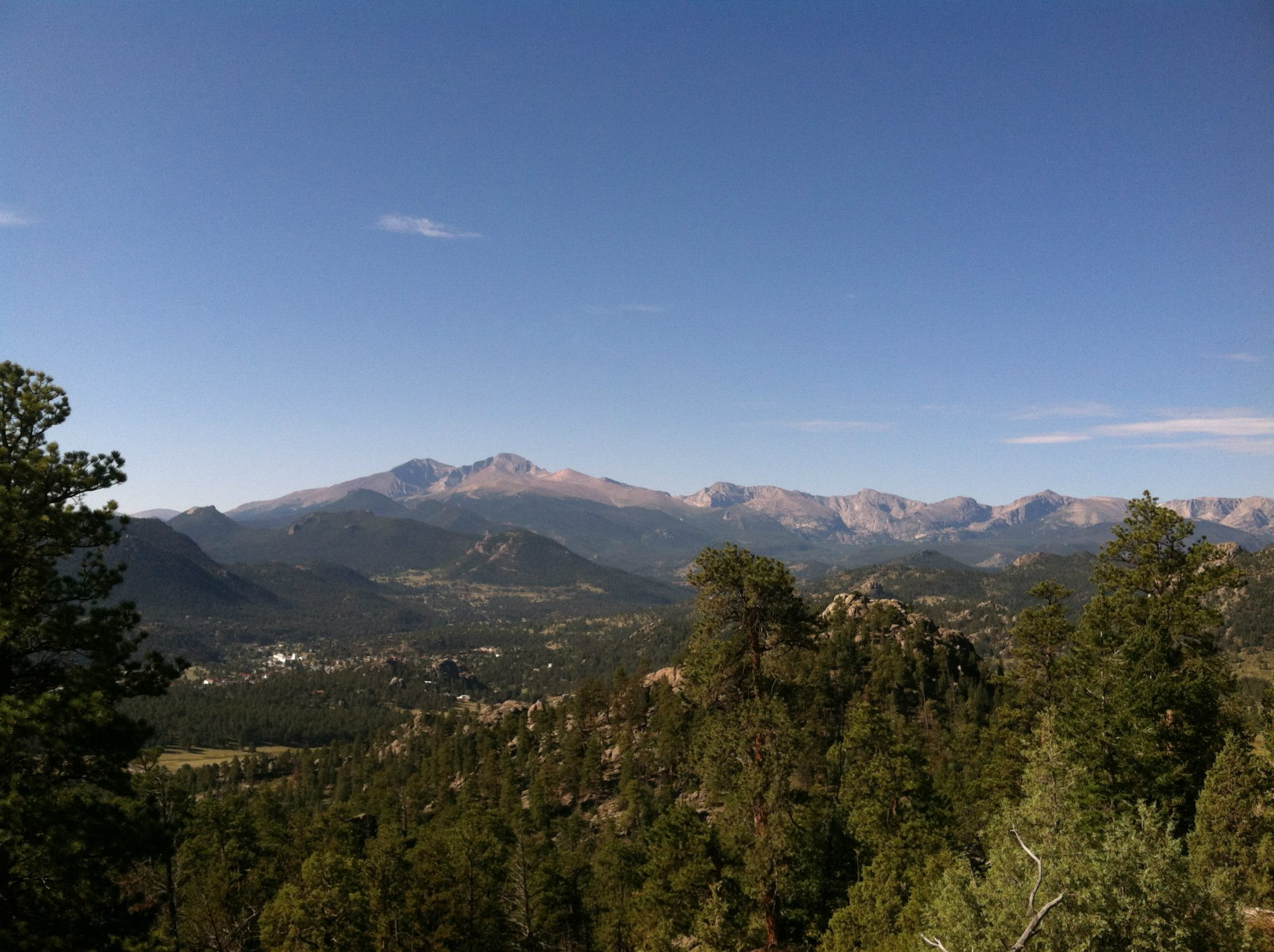 vista of the rocky mountains with pine trees in the foreground