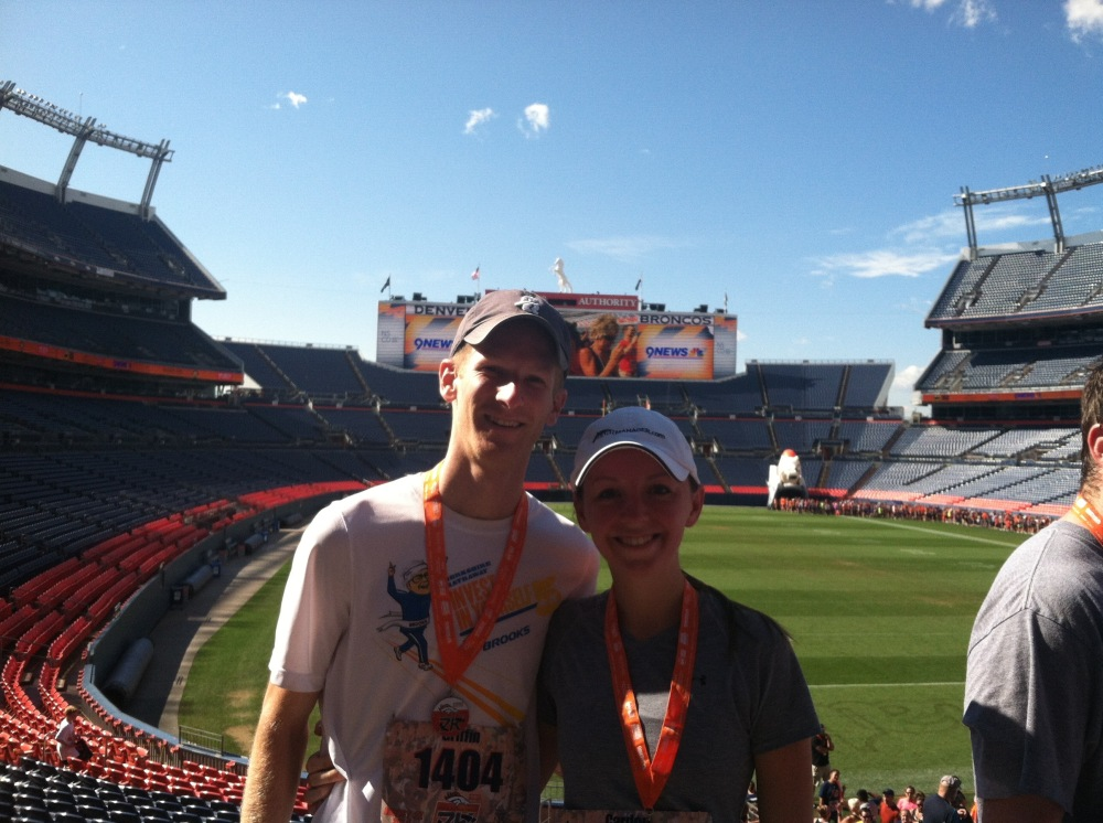 Note the continued back up over my shoulder. The medals are sweet, as is the view of Mile High!