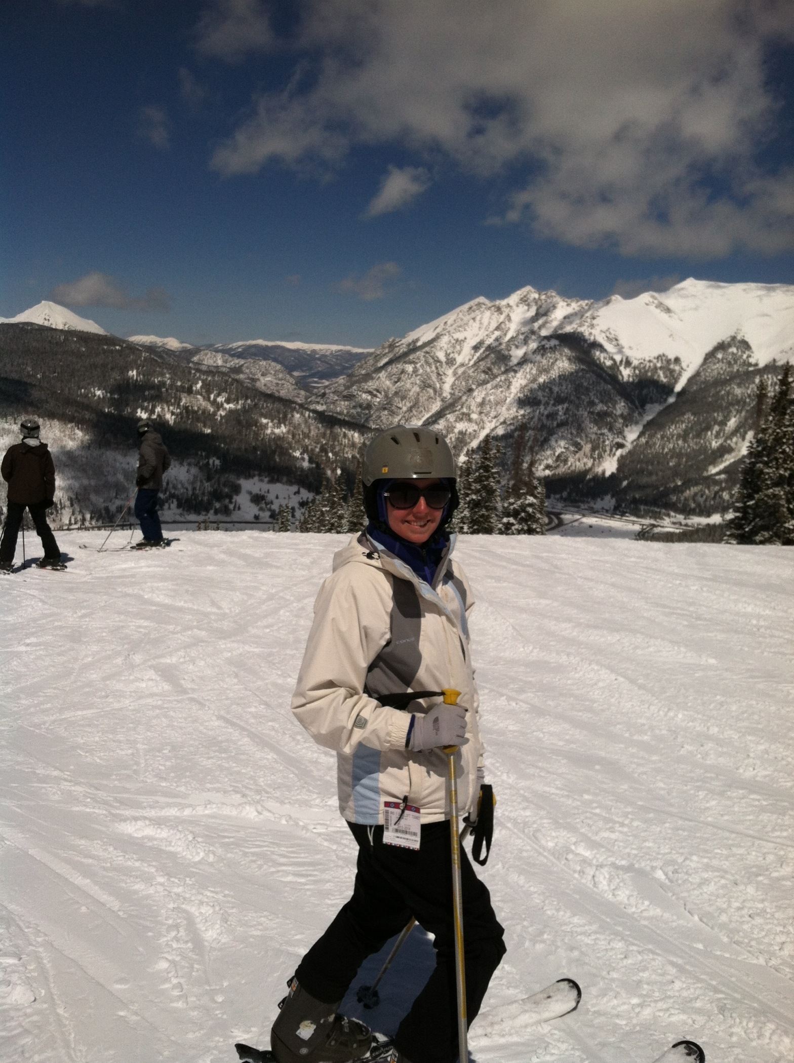 A woman goes skiing for the first time at Copper Mountain in Colorado