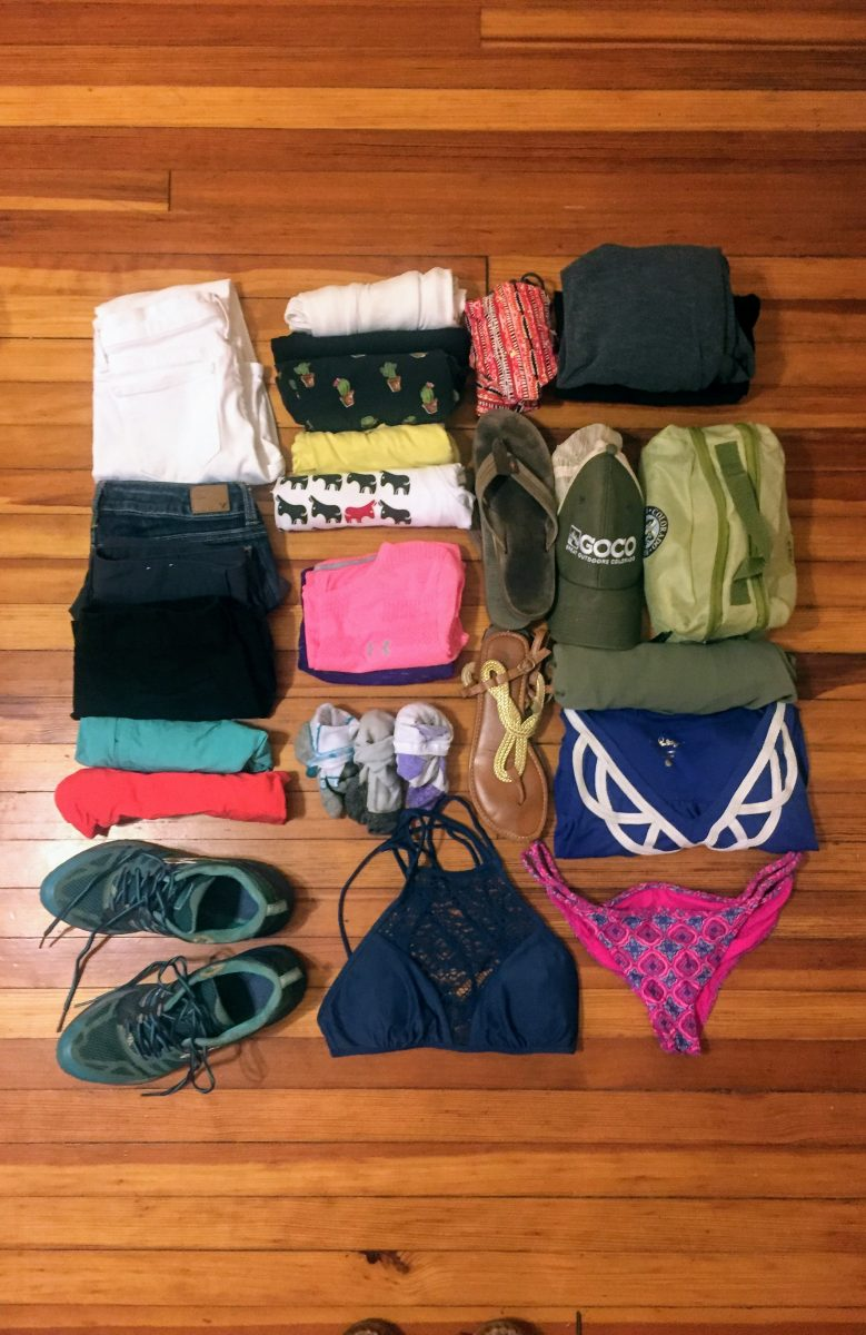 clothes laid out for packing