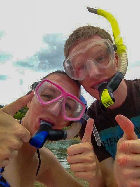 couple in snorkeling gear at Peanut Island
