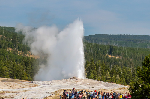 old faithful geyser erupts at yellowstone national park