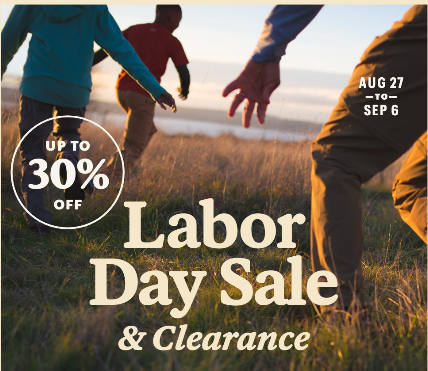 Text reading Labor Day Sale & Clearance Up to 30% off on top of a photo of people running through a field at sunset away from the camera